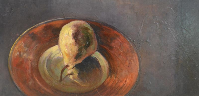 Noella Roos Painting for Sale One Pear on The Red Plate