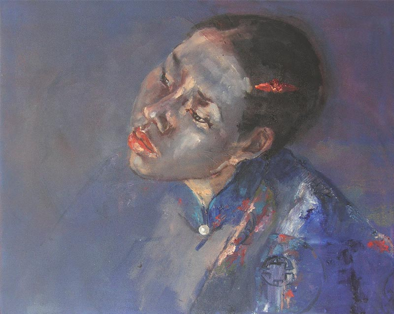 Vietnam Painting for Sale by Noella Roos Thuy in Blue